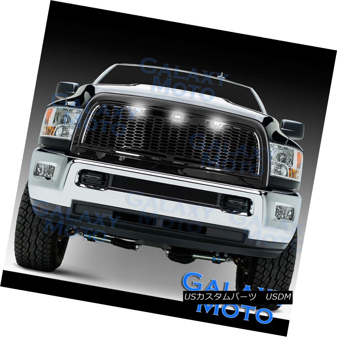 グリル 10-18 RAM 2500+3500 Raptor Gloss Black Replacement Mesh Grille+Shell+White 3xLED 10-18 RAM 2500 + 3500ラプターグロスブラック交換メッシュグリル+シェル+ W hite 3xLED