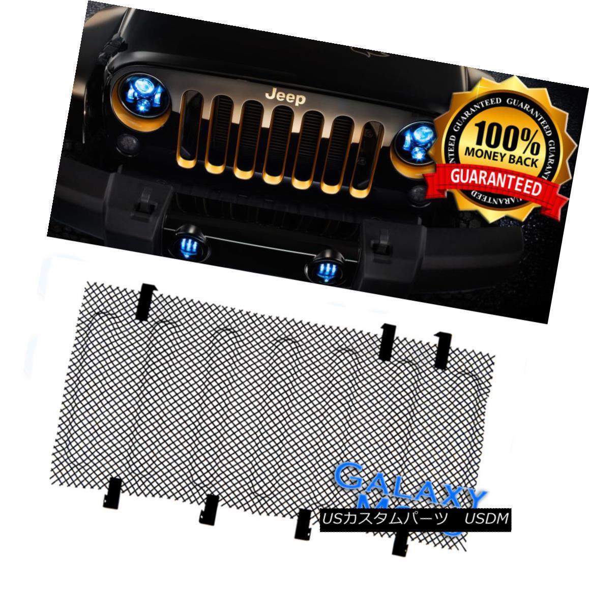 グリル Bug Screen Mesh Stainless Grille Insert Cover Grill fit 07-17 Jeep Wrangler JK バグスクリーンメッシュステンレスグリルインサートカバーグリルフィット07-17 Jeep Wrangler JK