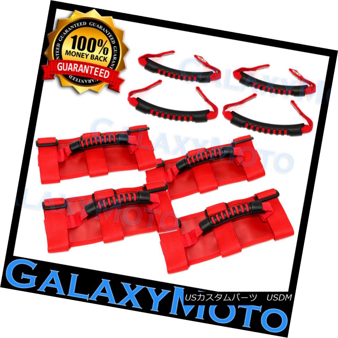 グリル Extreme RED 8x Roll Bar+Rear Side Bar Grab Handle fit 87-18 Jeep Wrangler JK TJ エクストリームRED 8xロールバー+リアサイドバーグラブハンドルフィット87-18ジープラングラーJK TJ