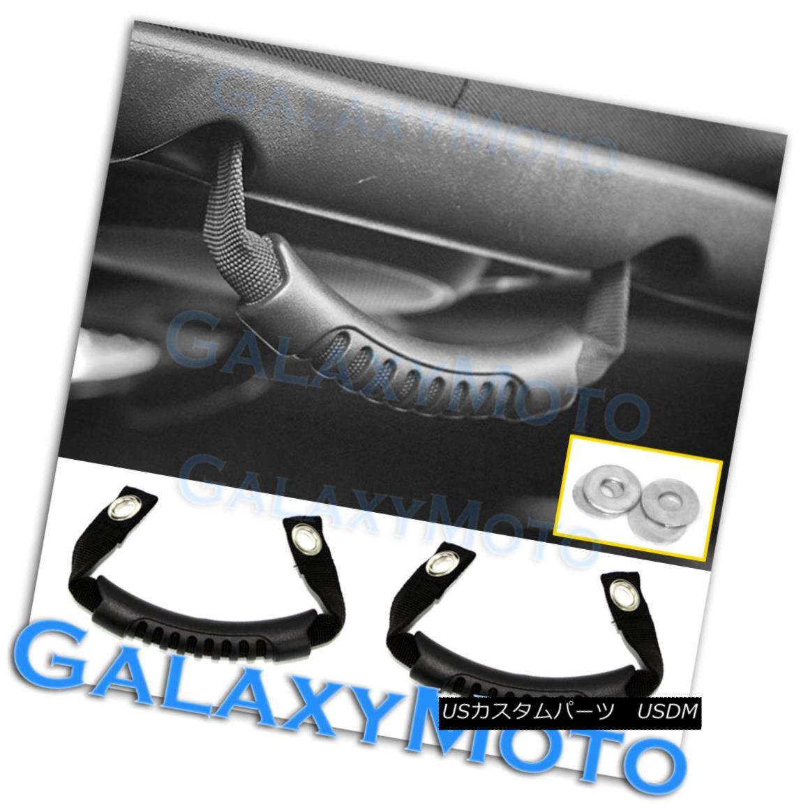 グリル Black Rear Side Grab Handle 1 Pair Windshield Pillar for 07-17 Jeep Wrangler JK ブラックリアサイドグラブハンドル07-17ジープラングラーJK用1対のウィンドシールドピラー