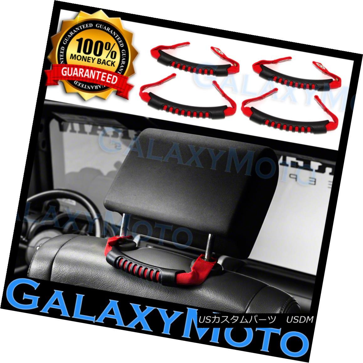 グリル RED Nylon Rear Side Grab Handle 4pcs for 07-18 Jeep Wrangler JK REDナイロンリアサイドグラブハンドル4本、07-18ジープラングラーJK用