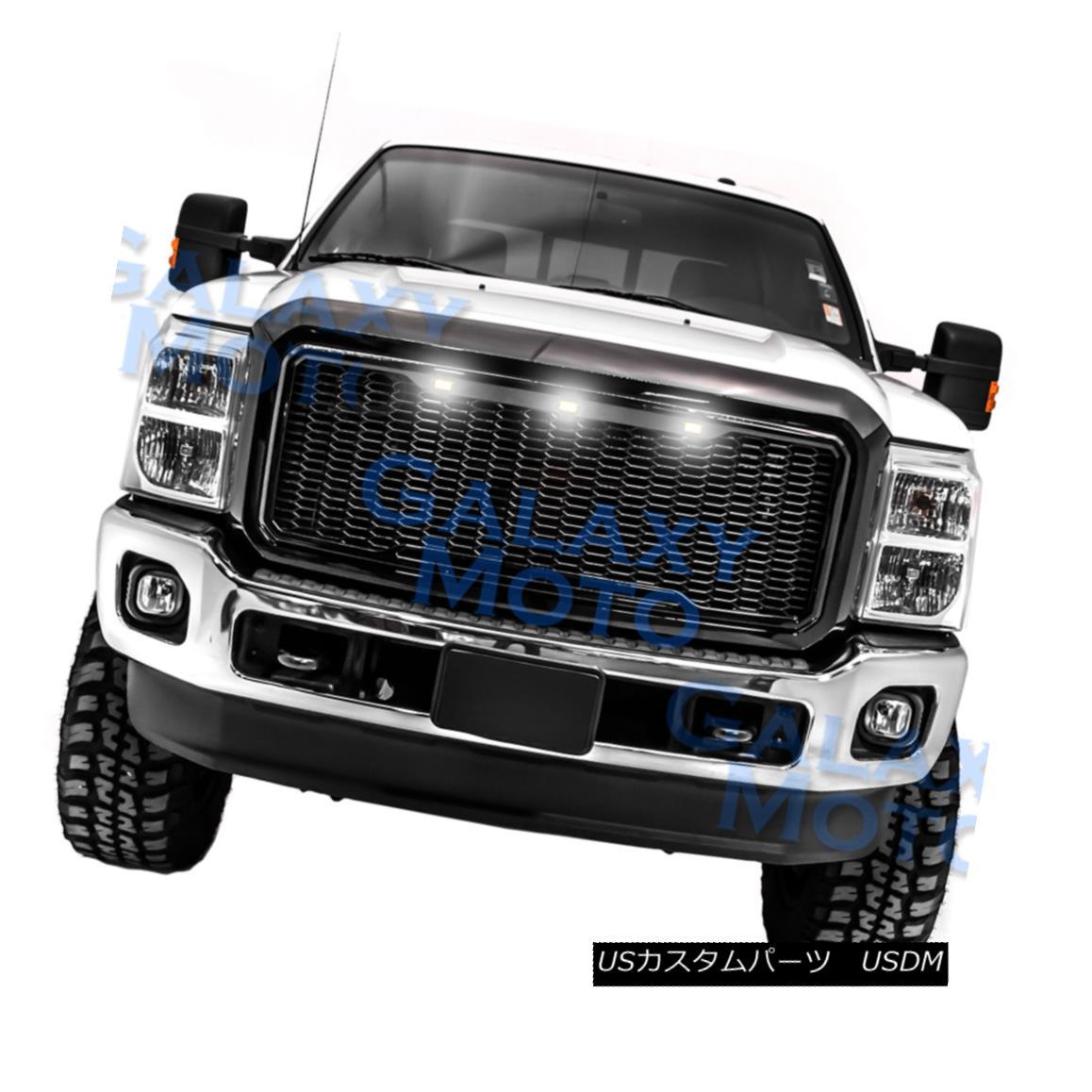 グリル 11-16 Ford Super Duty Raptor Style Gloss Black Mesh Grille+Shell+White LED light 11-16フォードスーパーデューティーラプタースタイルグロスブラックメッシュグリル+シェル+ W hite LEDライト