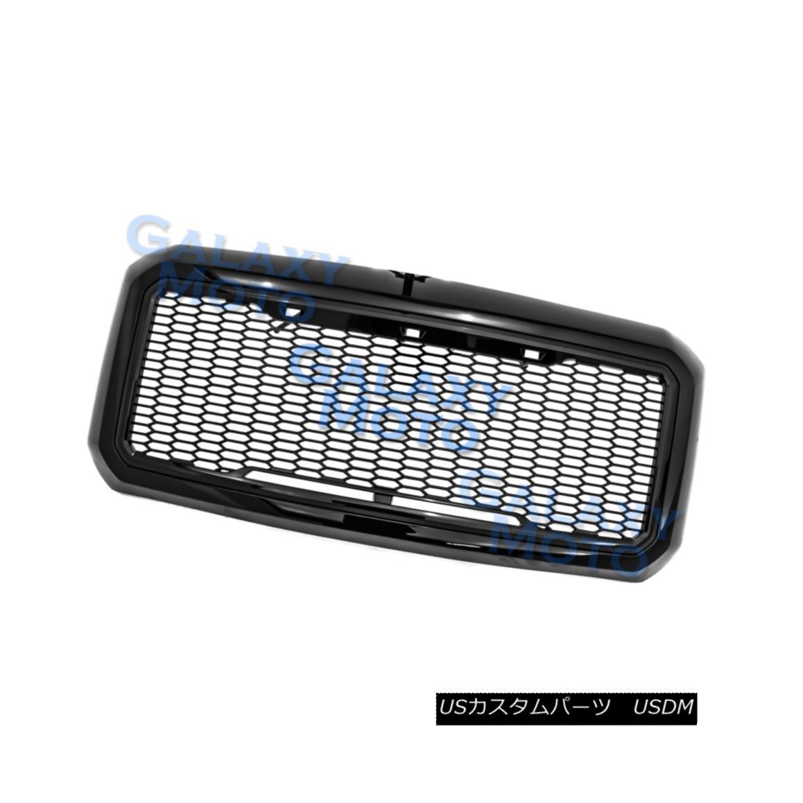 11-16 Ford Super Duty Raptor Style Matte Black Mesh Grille+Shell+White LED light