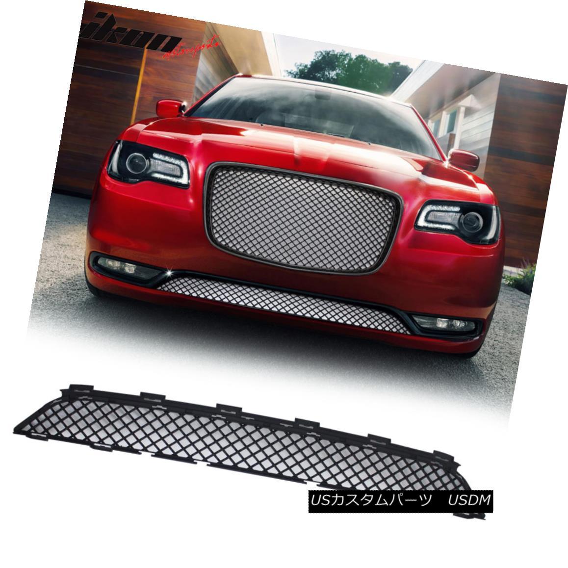 グリル Fits 15-17 Chrysler 300 300C Bentley Style Front Lower Grill Grille - Black フィット15-17クライスラー300 300Cベントレースタイルフロントローワーグリルグリル - ブラック