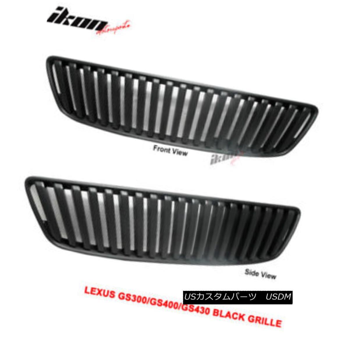 グリル For 98-05 Lexus GS300 GS400 GS430 VIP Black Hood Grille ABS 98-05用レクサスGS300 GS400 GS430 VIPブラックフードグリルABS