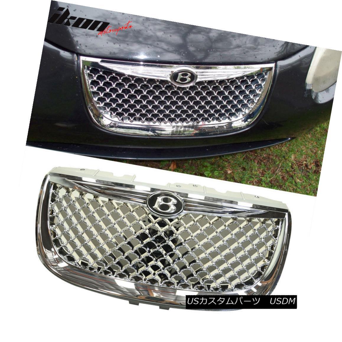 グリル Fits 99-04 Chrysler 300M Diamond Chrome Mesh Hood Grille With Emblem - ABS 適合99-04クライスラー300Mダイヤモンドクロームメッシュフードグリルエンブレム付き - ABS