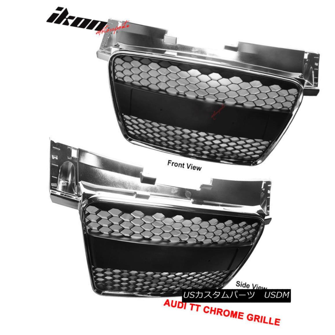 USグリル Fits 06-09 Audi TT ABS Front Hood Grille Grill Chrome Mesh フィット06-09アウディTT ABSフロントフードグリルグリルクロムメッシュ