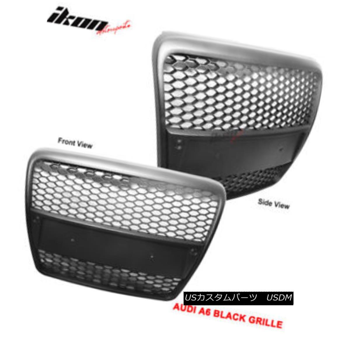 グリル Fits 05-10 Audi A6 C6 RS Black ABS Front Hood Grille Grill フィット05-10アウディA6 C6 RSブラックABSフロントフードグリルグリル