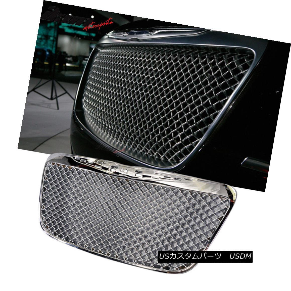 グリル Fits 11-14 Chrysler 300 300C B-Style Front Mesh Grill Grille Chrome - ABS フィット11-14クライスラー300 300C Bスタイルのフロントメッシュグリルグリルクローム - ABS