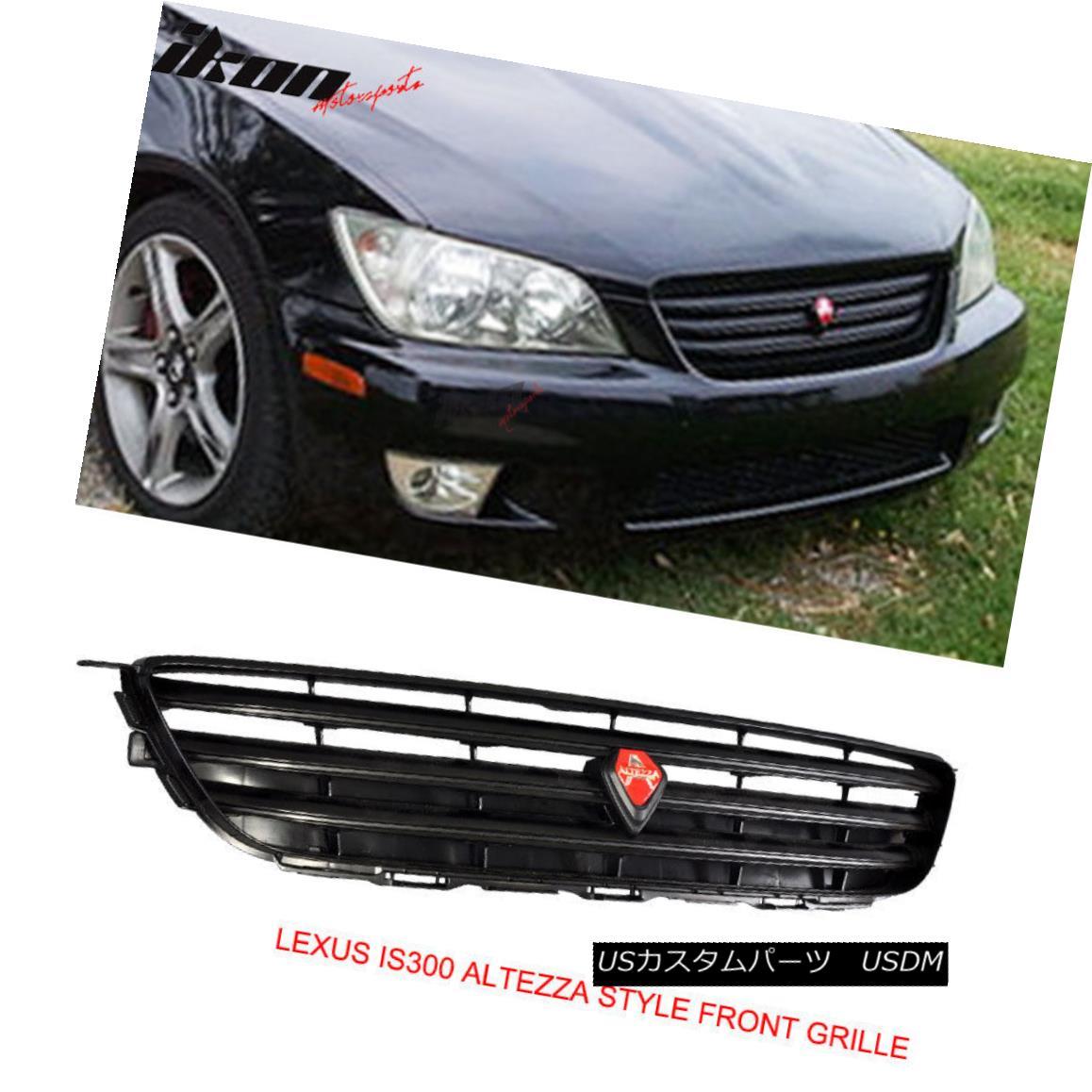 グリル For 01-05 Lexus IS300 IS200 Jce10 4Dr ABS Black VIP Front Upper Hood Mesh Grille 01-05レクサスIS300 IS200 Jce10 4Dr ABSブラックVIPフロントアッパーフードメッシュグリル