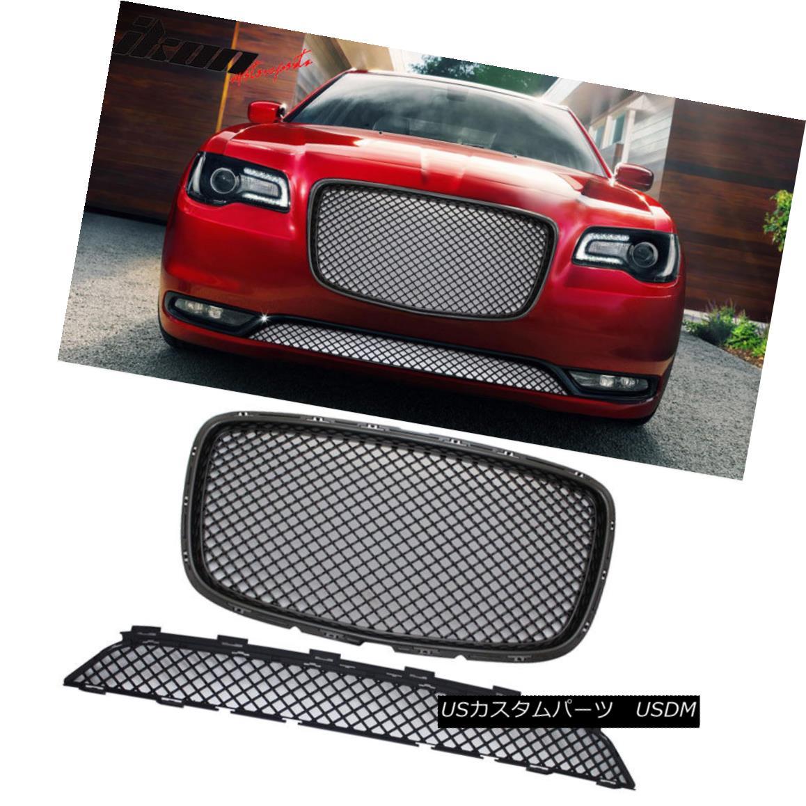 グリル Fits 15-17 Chrysler 300 300C Bentley Style Upper + Lower Grill Grille - Black フィット15-17クライスラー300 300Cベントレースタイルアッパー+ロワーグリルグリル - ブラック