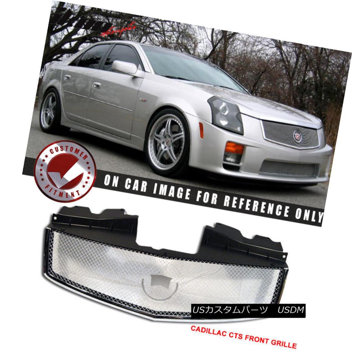 グリル Fits 03-07 Cadillac Cts Stainless Mesh Chrome Grill Hood Grille ABS フィット03-07キャデラックCTSステンレスメッシュクロームグリルフードグリルABS