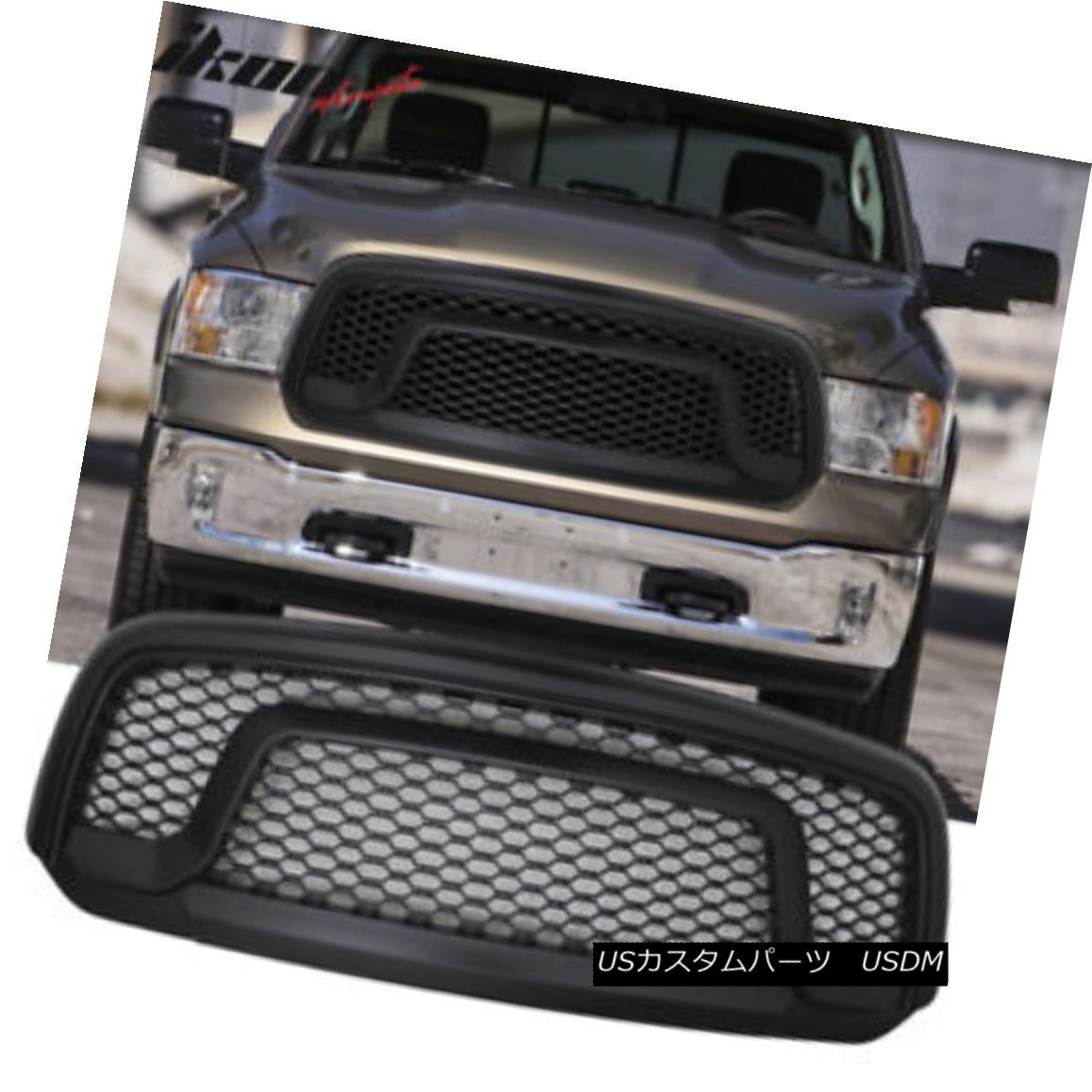 グリル Fits 13-18 Dodge Ram 1500 R Style Mesh Honycomb Grill Grille Black フィット13-18ダッジラム1500 Rスタイルメッシュハニカムグリルグリルブラック