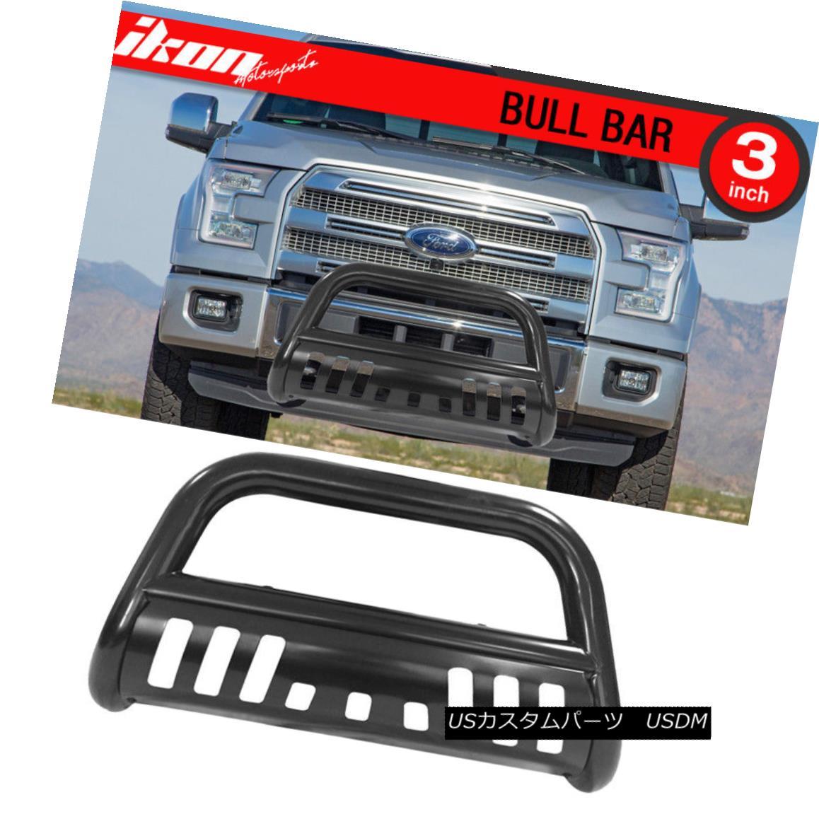 グリル Fits 04-18 Ford F150 Black Bull Bar Brush Push Grill Grille Front Guards フィット04-18フォードF150ブラックブルバーブラシプッシュグリルグリルフロントガード
