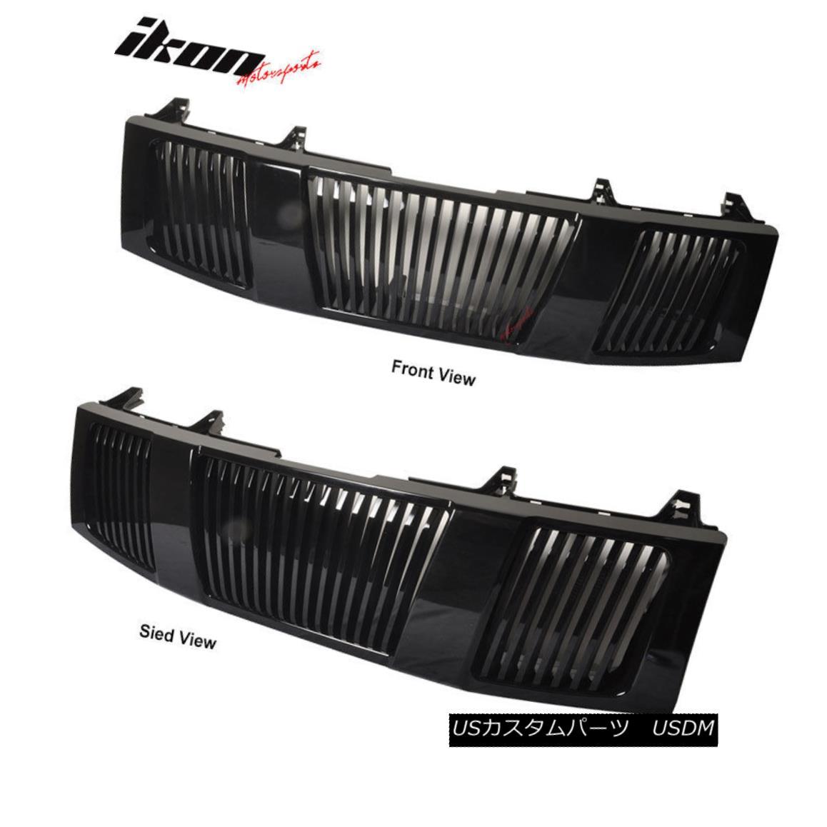 グリル Fit For 04-07 Nissan Titan Armada Vertical Black Hood Grille 1P フィット04-07日産タイタンアルマダ縦型ブラックフードグリル1P