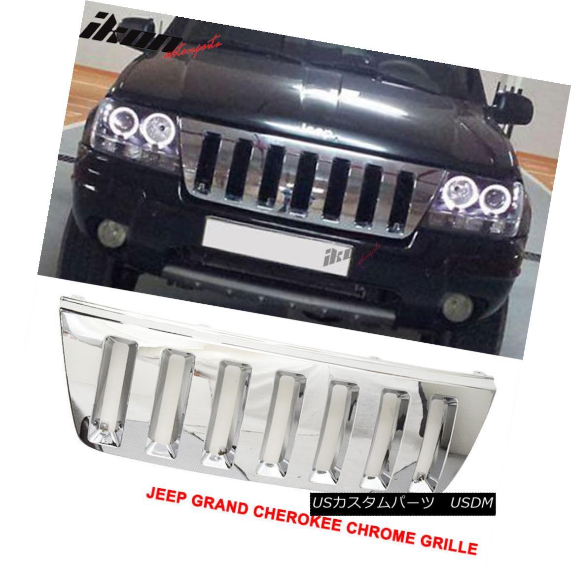 グリル Fits Jeep 99-03 Grand Cherokee Wj Sport 4Dr Front Grill Hood Grille Chrome ABS フィットジープ99-03グランドチェロキーWJスポーツ4DrフロントグリルフードグリルクロームABS