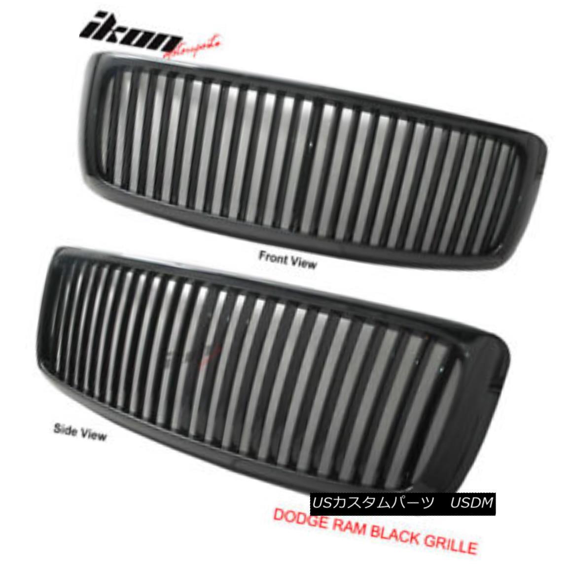 グリル Fits 02-05 Dodge Ram 1500 2500 Vertical Black Grill Grille フィット02-05ダッジラム1500 2500バーチカルブラックグリルグリル