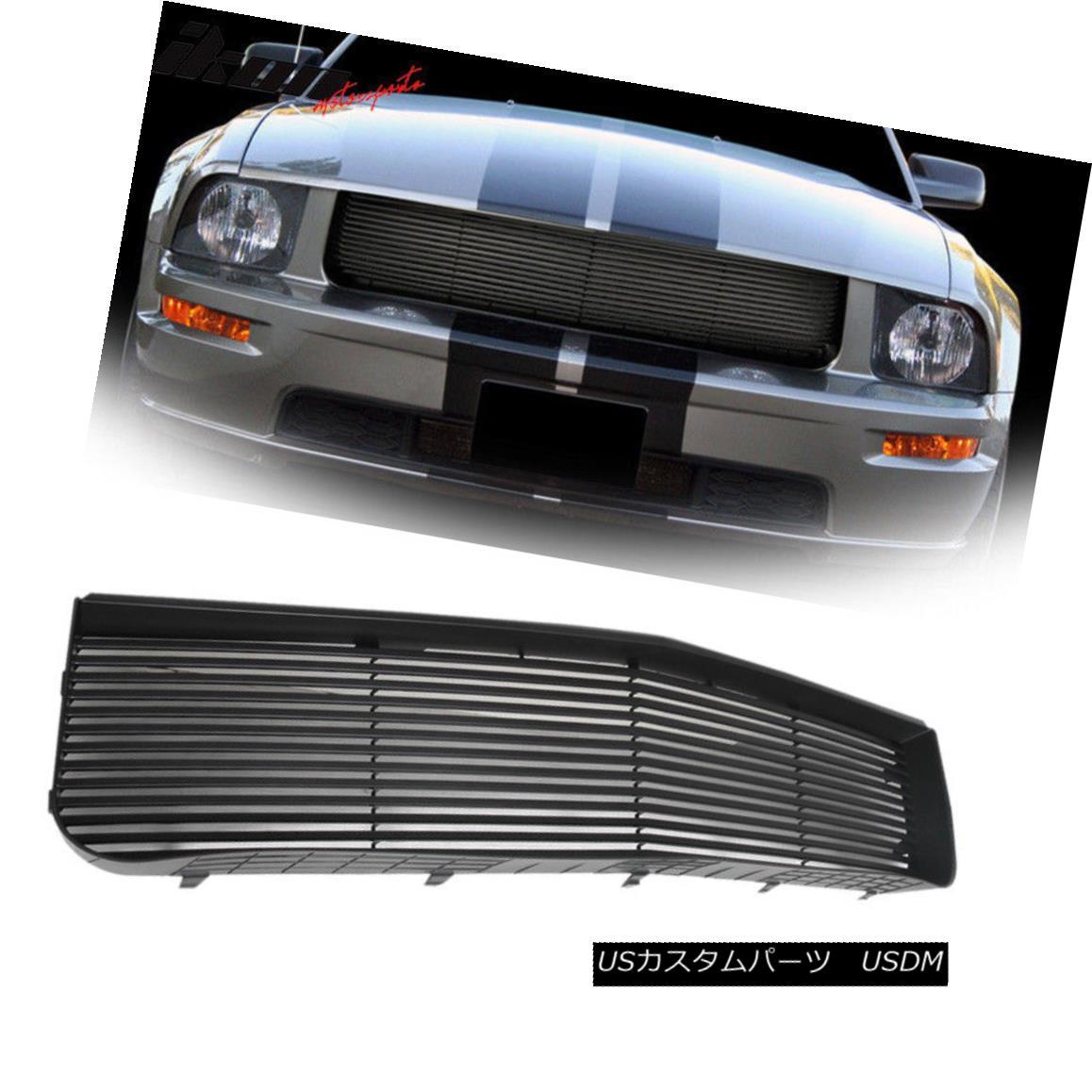 グリル Fits 05-09 Ford Mustang V6 Black ABS Hood Grille Grill 1Pc フィット05-09フォードマスタングV6ブラックABSフードグリルグリル1PC