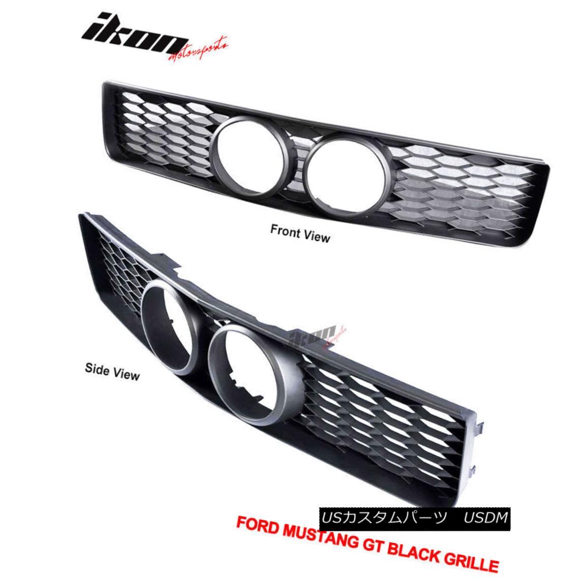 グリル Fits 05-09 Ford Mustang GT Black Front Grille & Center Fog Hole フィット05-09フォードマスタングGTブラックフロントグリル& センターフォグホール