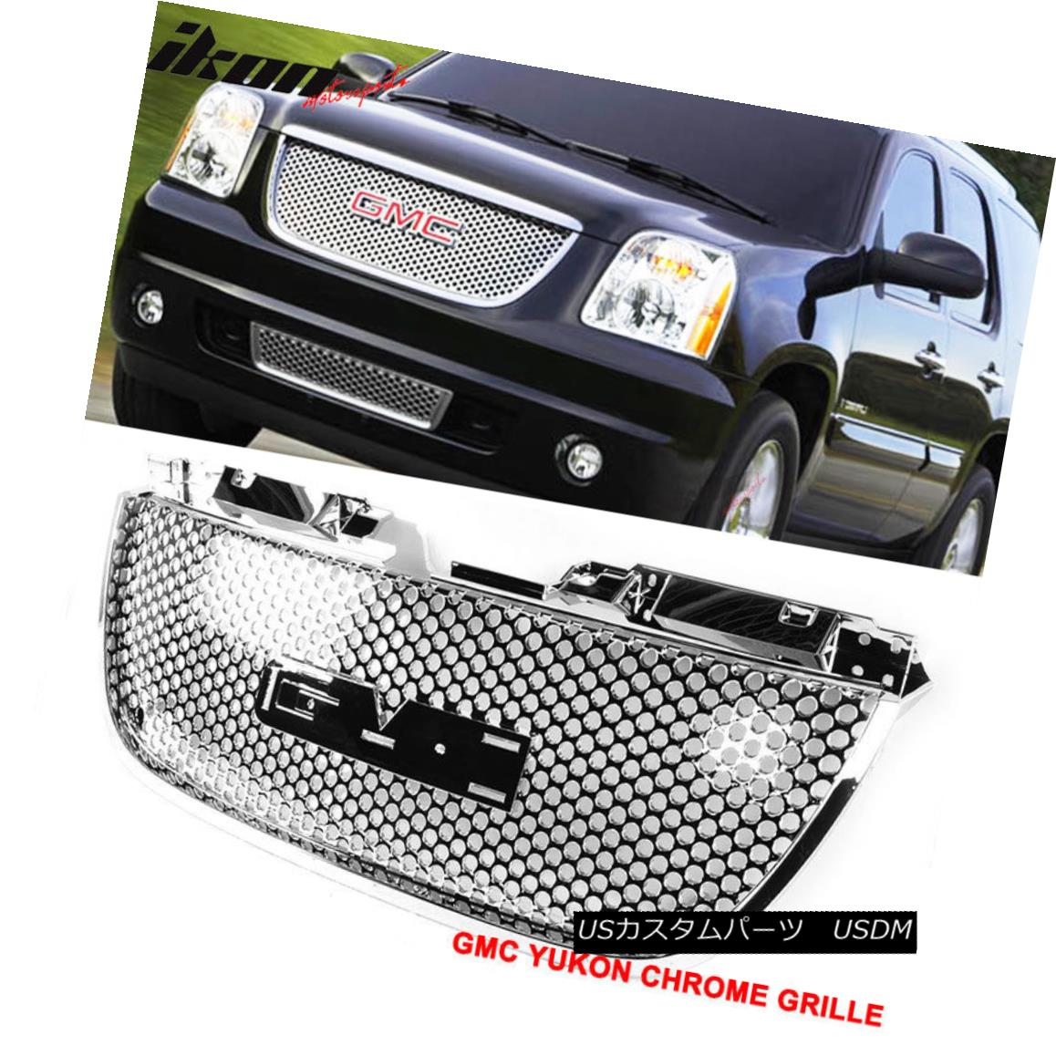グリル Fits 07-13 GMC Yukon Denali Round Hole Grille Grill Chrome フィット07?13 GMCユーコンデナリラウンドホールグリルグリルクローム