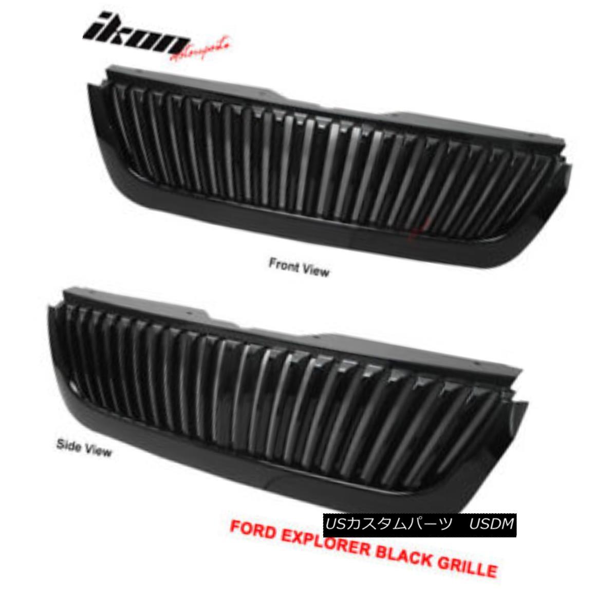 グリル Fits 02-05 Ford Explorer 4DR Vertical Style Black Hood Grille Grill フィット02-05フォードエクスプローラー4DR垂直スタイルブラックフードグリルグリル