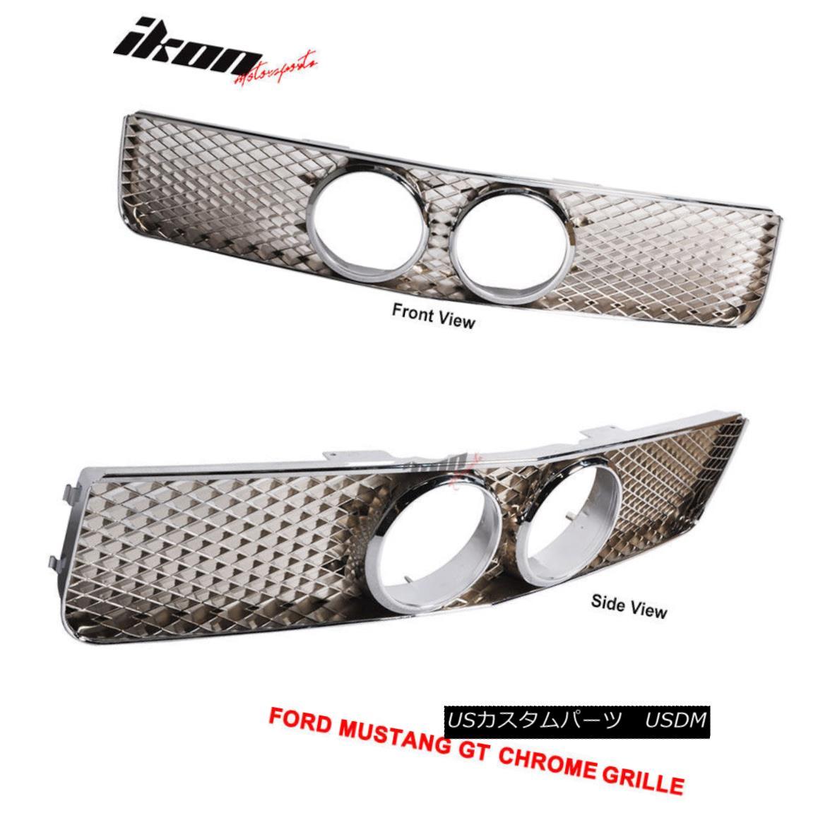 グリル Fits 05-09 Ford Mustang GT Front Grille & Center Fog Hole Chrome フィット05-09フォードマスタングGTフロントグリル& センターフォグホールクロム
