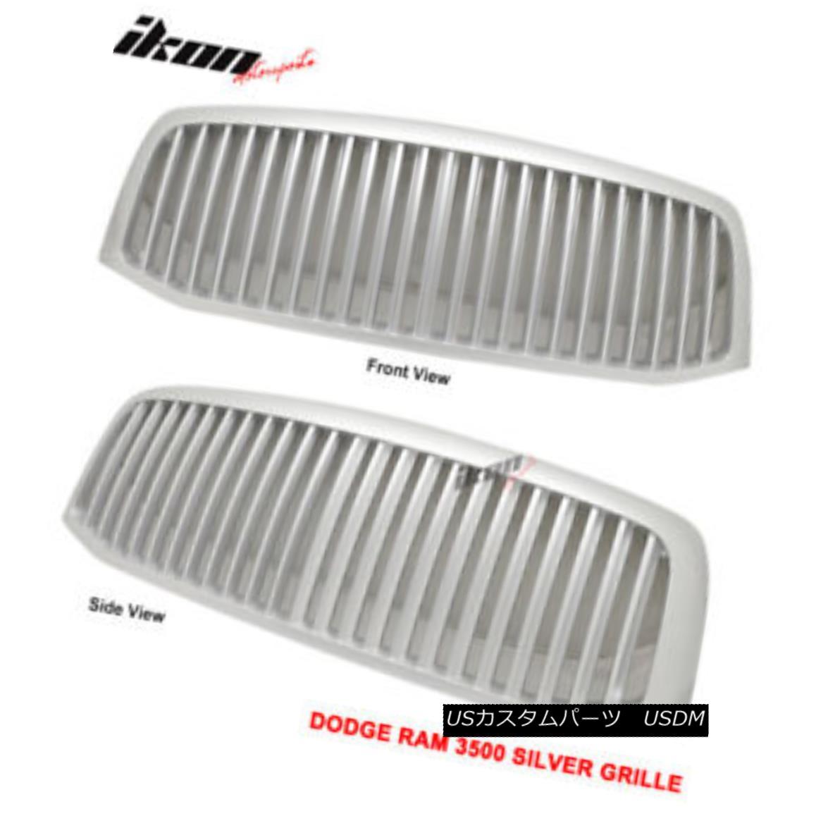 グリル Fits 06-08 Dodge Ram 1500 2500 Ram 3500 Front Vertical Silver Grill Hood Grille フィット06-08ダッジラム1500 2500ラム3500フロント垂直シルバーグリルフードグリル