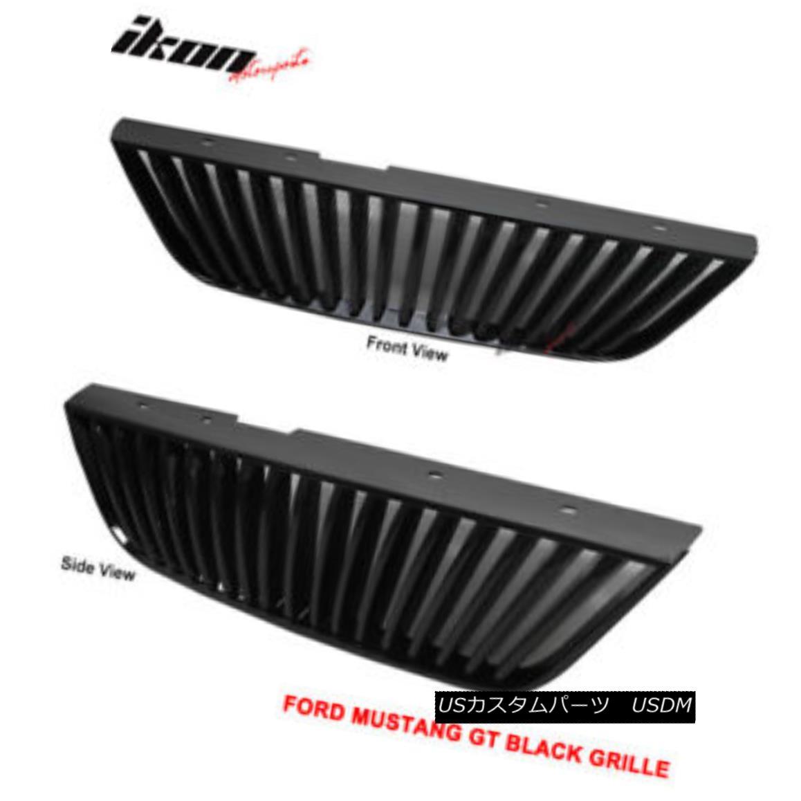 グリル Fits 99-04 Ford Mustang GT V6 V8 ABS Black Hood Grille Vip フィット99 - 04フォードマスタングGT V6 V8 ABSブラックフードグリルVIP