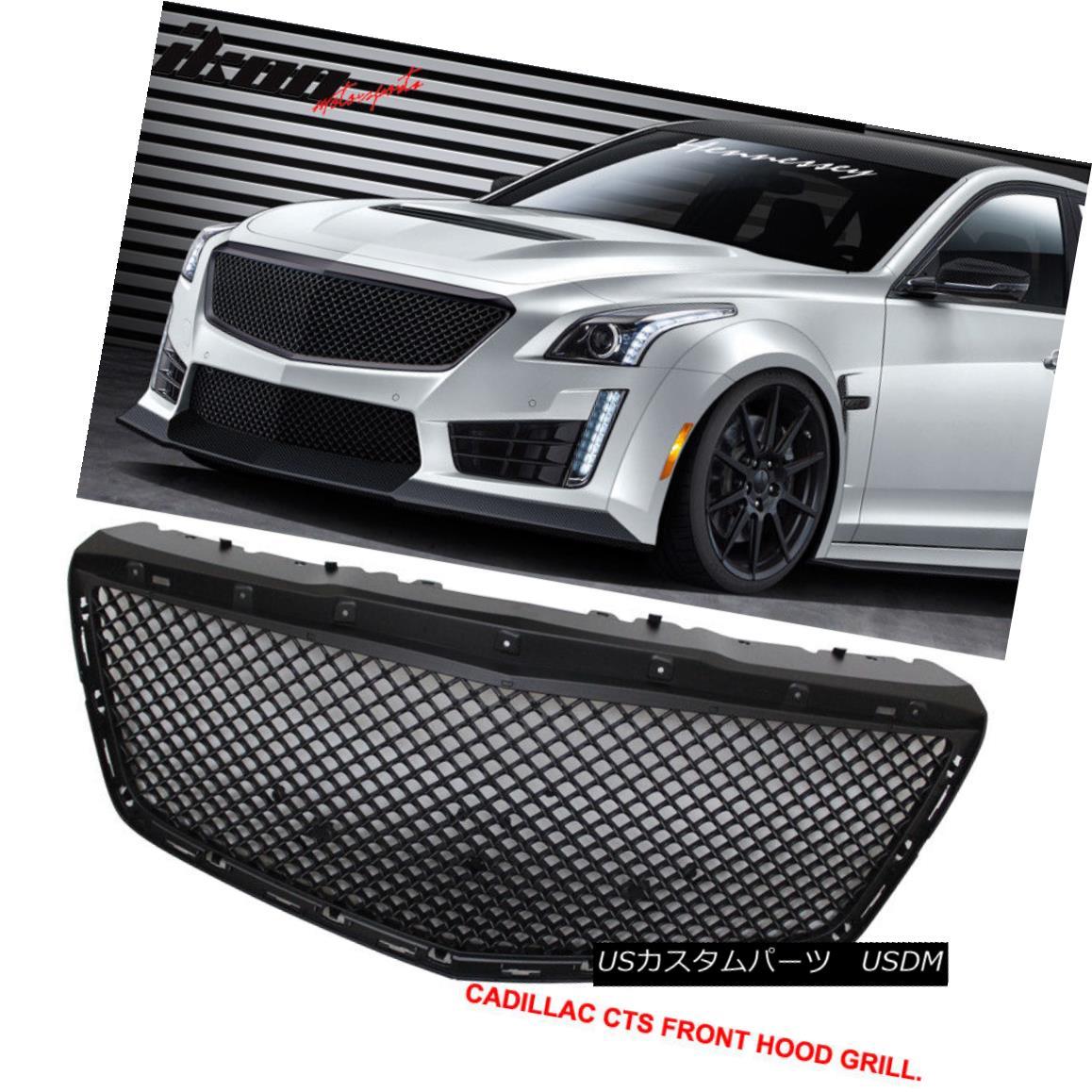グリル Fits 14-16 Cadillac CTS 4Dr B Style Black Front Bumper Hood Grille Grill - ABS フィット14-16キャデラックCTS 4Dr Bスタイルブラックフロントバンパーフードグリルグリル - ABS