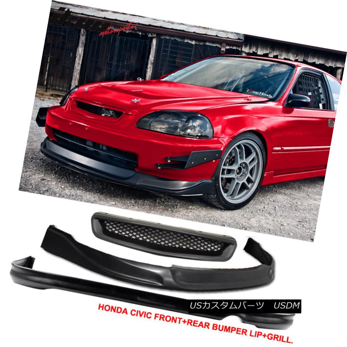 USグリル Fits 96-98 Honda Civic 2Dr/4Dr CONCEPT Front + Rear Bumper Lip + TR Hood Grill フィット96-98ホンダシビック2Dr / 4Dr CONCEPTフロント+リアバンパーリップ+ TRフードグリル
