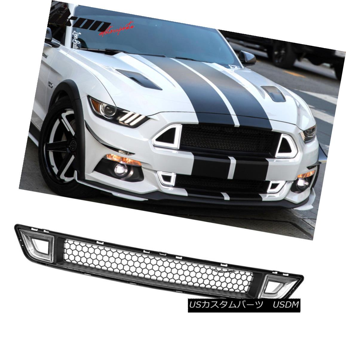 グリル Fits 15-17 Ford Mustang IKON Style Front Lower Grille With Clear DRL LED Light Ford 15-17 Ford MustangクリアDRL LEDライト付きIKONスタイルフロントローワーグリル