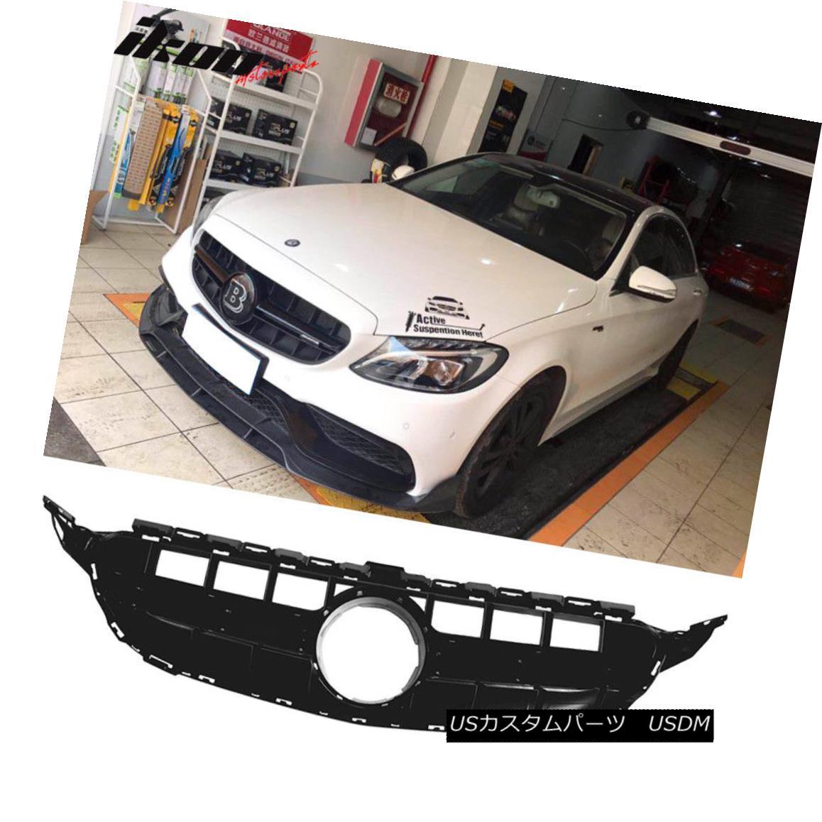 グリル Fits 15-18 Mercedes-Benz C Class W205 Sport E63S Vertical AMG Style Black Grille フィット15-18メルセデスベンツCクラスW205スポーツE63S垂直AMGスタイルブラックグリル