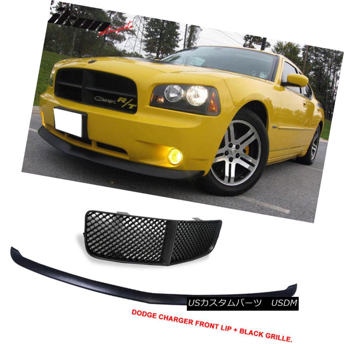 グリル Fits 05-10 Charger OE Datona Type Urethane Front Bumper Lip+Mesh Grill Black フィット05-10充電器OE Datonaタイプウレタンフロントバンパーリップ+メッシュグリルブラック