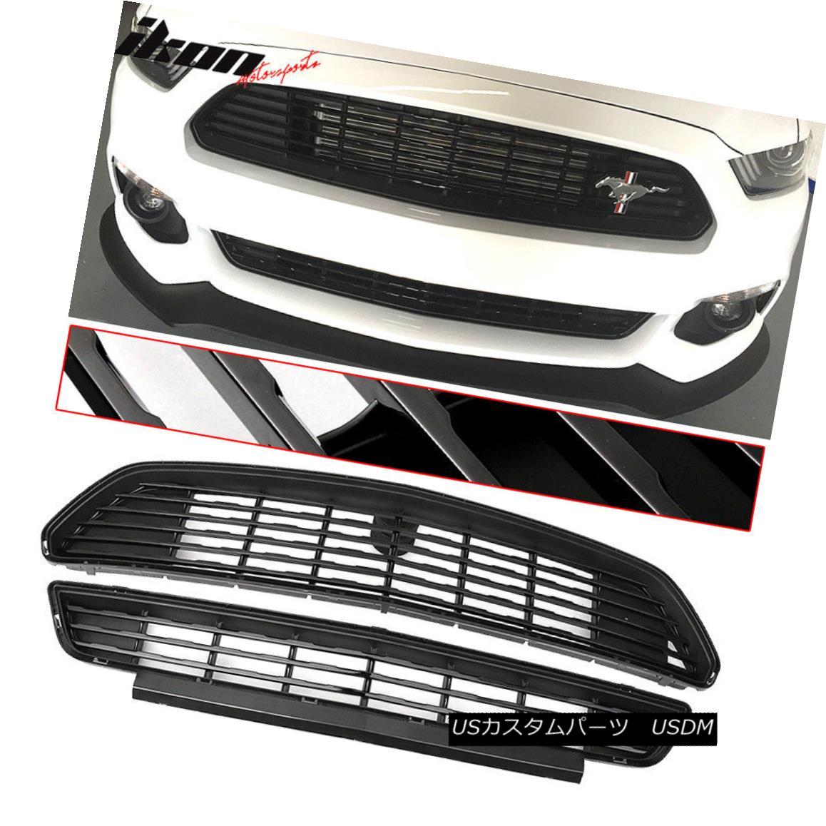 グリル Fits 15-17 Mustang GT/CS CA Special Front Upper And Lower Grille Grill Set Black 15-17 Mustang GT / CS CAスペシャルフロントアッパー&ロワーグリルグリルセット