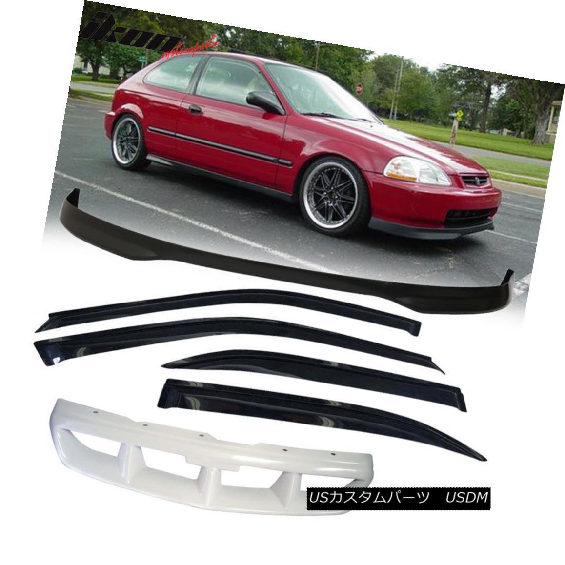 グリル Fits 96-98 Honda Civic 4Dr Front Bumper Lip + Front Grill + Sun Window Visor フィット96-98ホンダシビック4Drフロントバンパーリップ+フロントグリル+サンウィンドウバイザー