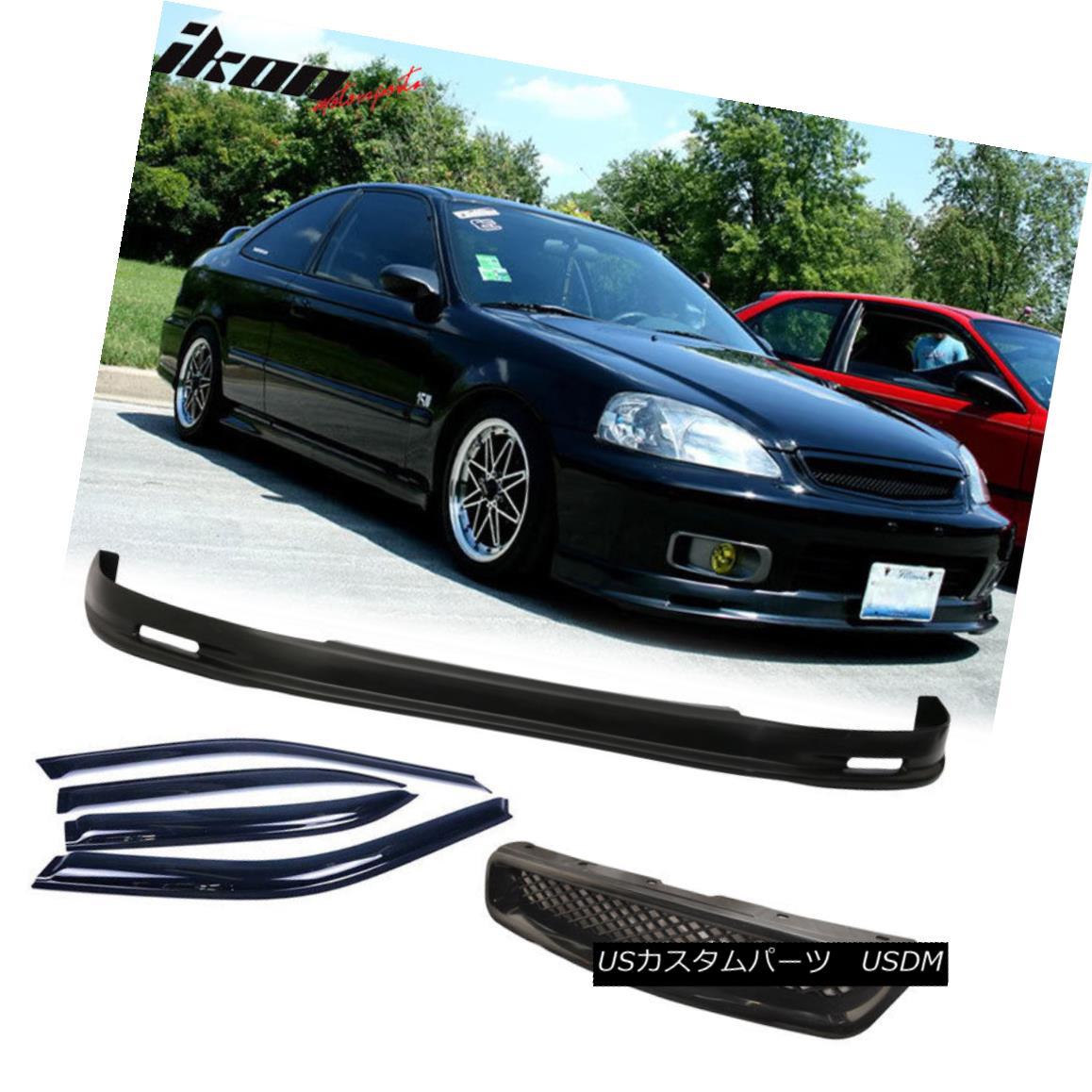 グリル Fits Civic 99-00 Mugen PP Front Bumper Lip + Front Grille + Sun Window Visor フィットシビック99-00ムゲンPPフロントバンパーリップ+フロントグリル+サンウィンドウバイザー
