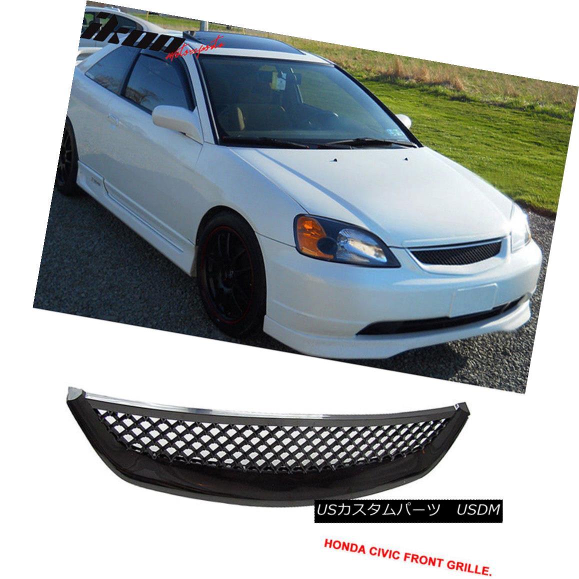 グリル Fits 01-03 Honda Civic T-R T-R Black ABS Front Hood Grille Grill 01 フィット01-03ホンダシビックT-R T-RブラックABSフロントフードグリルグリル01