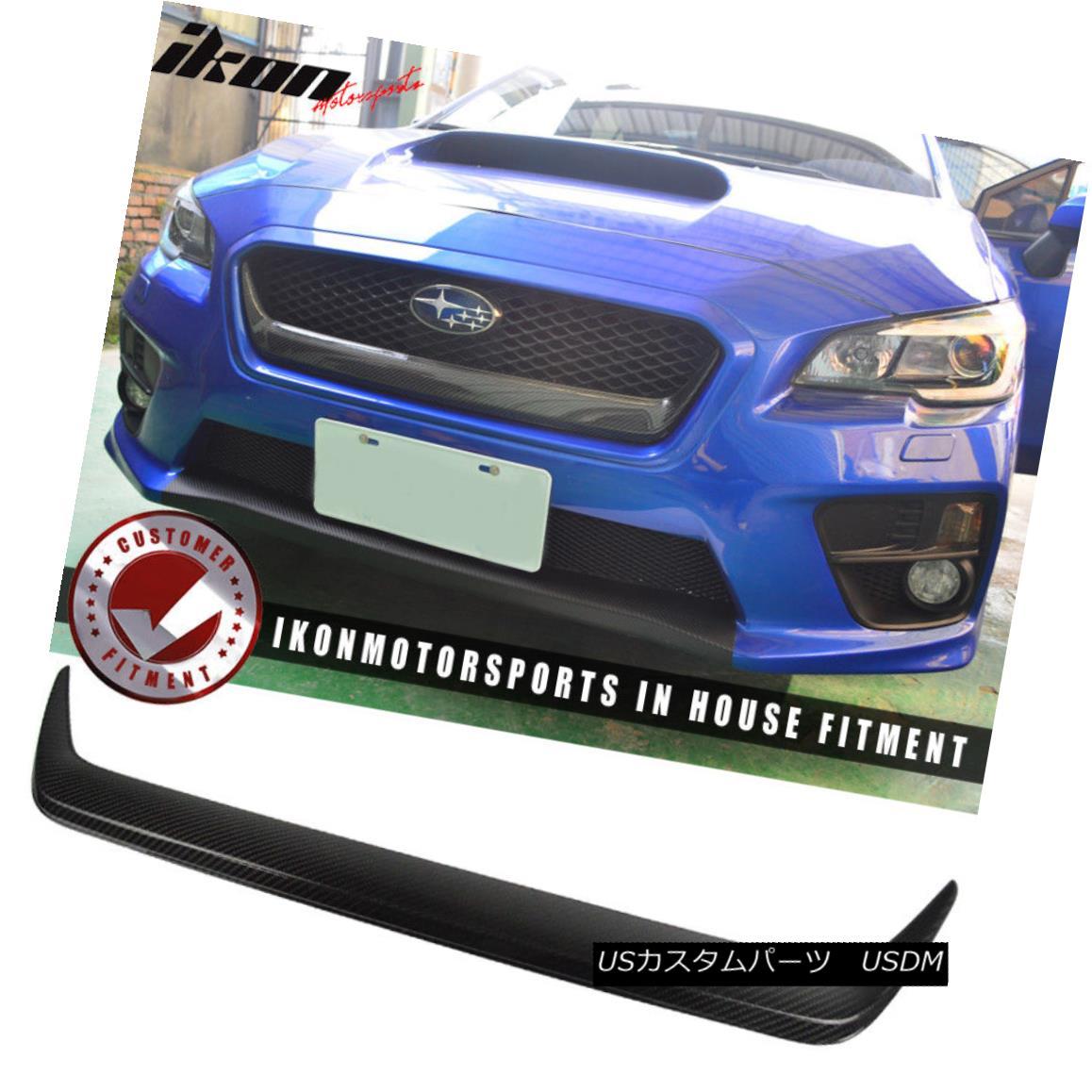 グリル For 15-18 Subaru WRX STI Front Grille Grill Garnish Cover Trim Carbon Fiber CF 15-18スバルWRX STIフロントグリルグリルガーニッシュカバートリムカーボンファイバーCF用