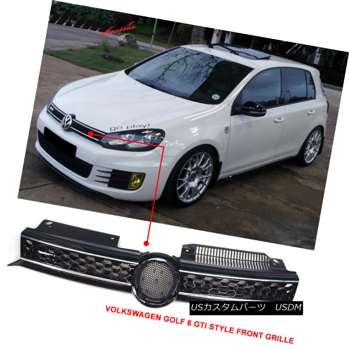 グリル Fits 10-14 Golf MK6 Mesh GTI Style Black Chrome Front Grille Logo Base - ABS フィット10-14ゴルフMK6メッシュGTIスタイルブラッククロームフロントグリルロゴベース - ABS