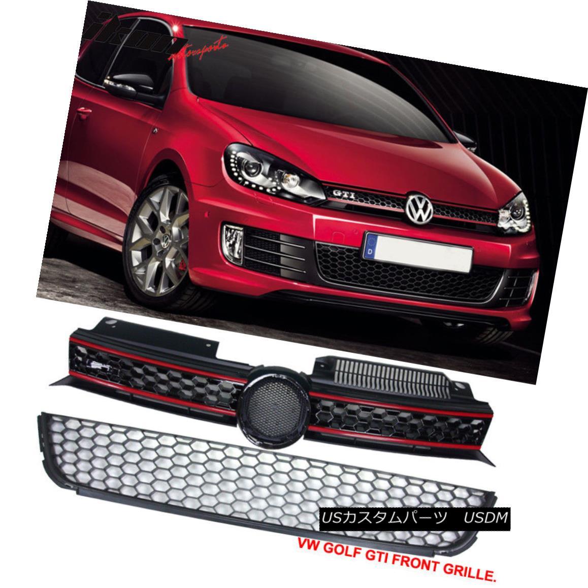 グリル Fits 10-14 Golf MK6 Mesh Honeycomb GTI Style Black Front Upper+Lower Grille ABS フィット10-14ゴルフMK6メッシュハニカムGTIスタイルブラックフロントアッパー+ロワーグリルABS