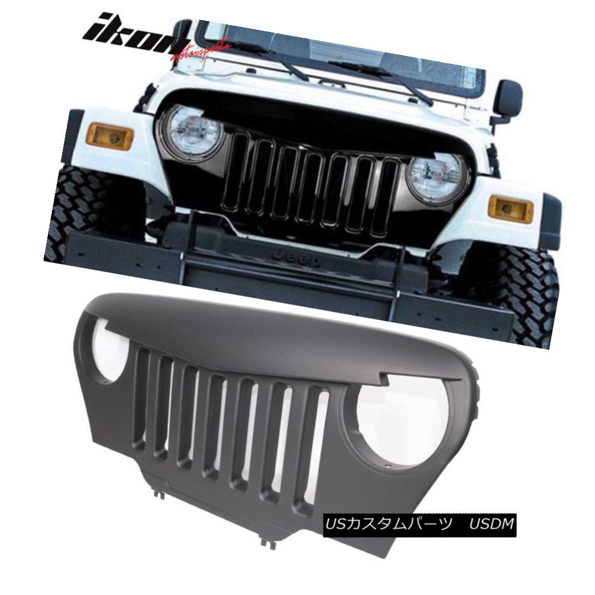 グリル Fits 97-06 Jeep Wrangler TJ V1 Style Angry Bird Front Hood Grille - ABS フィット97-06ジープラングラーTJ V1スタイル怒っている鳥フロントフードグリル - ABS
