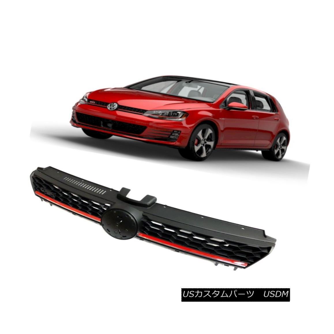 グリル 2015 2016 2017 VW Golf MK7 Honeycomb Front Grill Black with Red Trim Grille 2015 2016 2017 VWゴルフMK7ハニカムフロントグリルブラックレッドトリムグリル