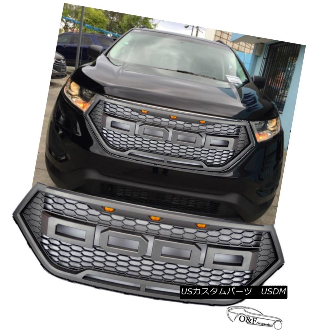 グリル 2016 2017 Ford Edge Raptor Front Grille Style Mesh Charcoal Gray Bumper Grill 2016 2017フォードエッジラプターフロントグリルスタイルメッシュチャコールグレーバンパーグリル