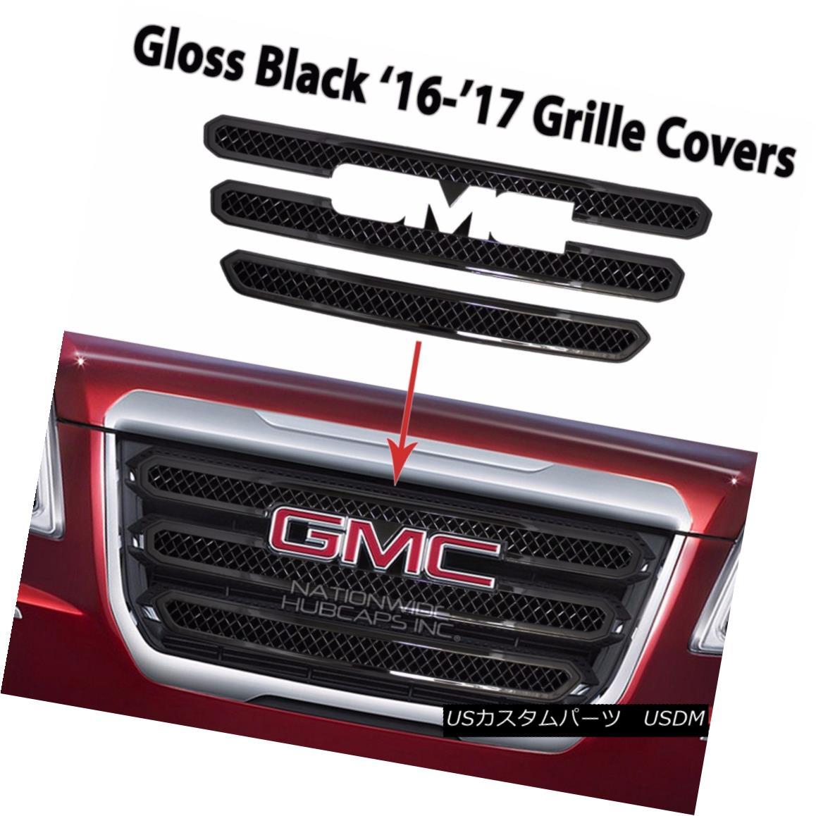 グリル 2016 2017 GMC Terrain BLACK Grille Overlay 3 Bar Front Grill Covers Inserts NEW 2016 2017 GMC地形BLACKグリルオーバーレイ3バーフロントグリルカバーインサートNEW