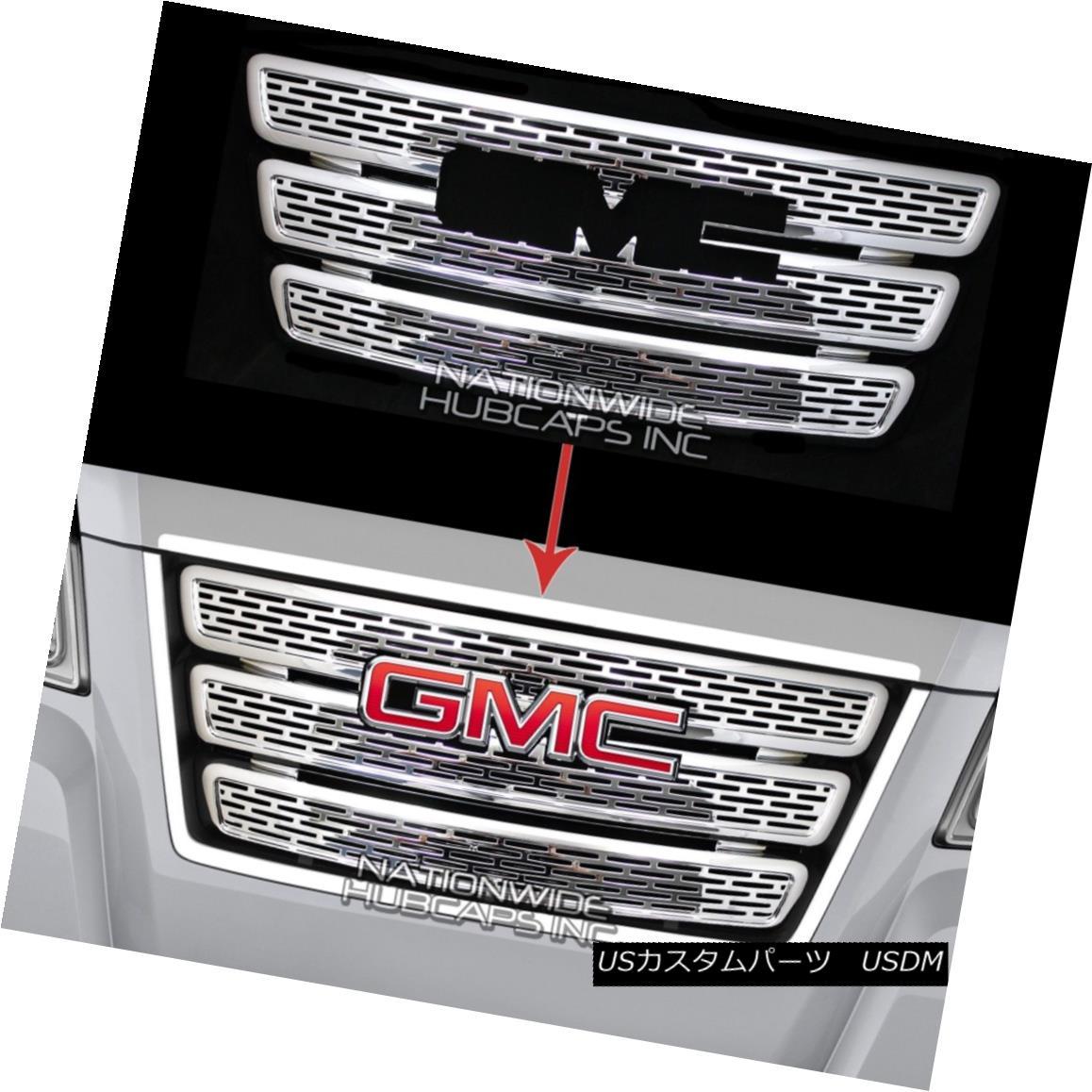 グリル 10-15 GMC TERRAIN CHROME Grille Overlay 3 Bar Grill Inserts Covers Denali Style 10-15 GMC TERRAIN CHROMEグリルオーバーレイ3バーグリルインサートカバーデナリスタイル