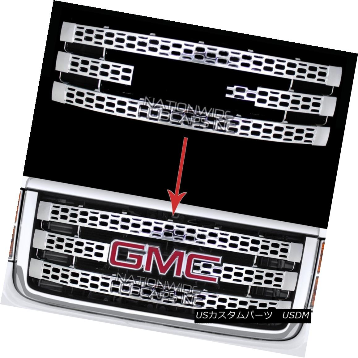 グリル for 11-14 GMC Sierra 2500 3500 CHROME Snap On Grille Overlay Grill Cover Inserts 11-14 GMC Sierra 2500 3500 CHROMEスナップオングリルオーバーレイグリルカバーインサート