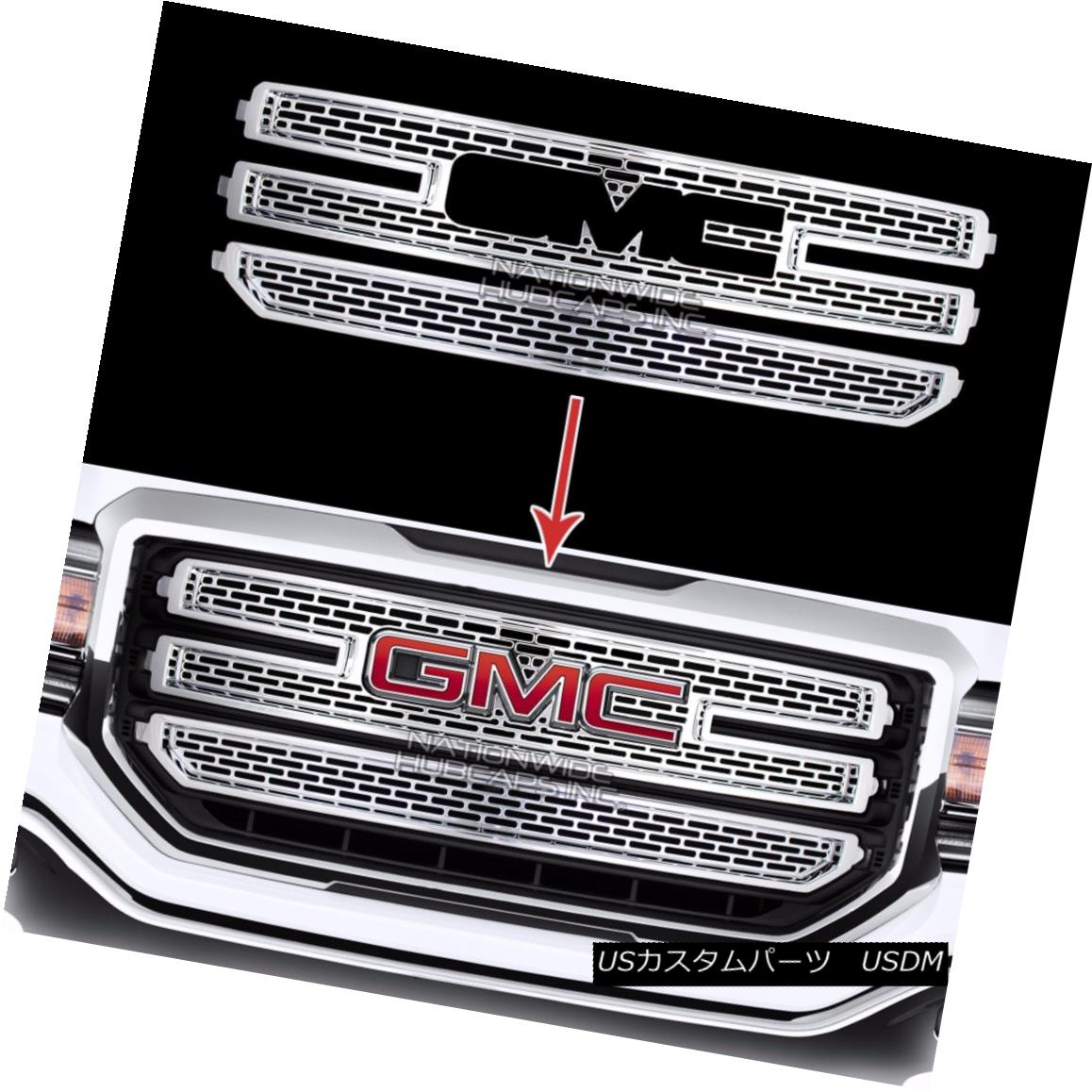 グリル 2016-18 GMC Sierra 1500 CHROME Snap On Grille Overlay 3 Bar Grill Covers Inserts 2016-18 GMC Sierra 1500 CHROMEスナップオングリルオーバーレイ3バーグリルカバーインサート