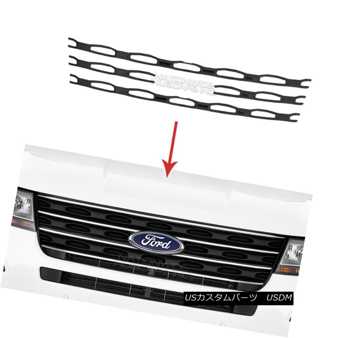 グリル Black 2016 2017 Ford Explorer Snap On Grille Overlays Front Grill Trim Covers ブラック2016 2017 Ford Explorerスナップオングリルオーバーレイフロントグリルトリムカバー