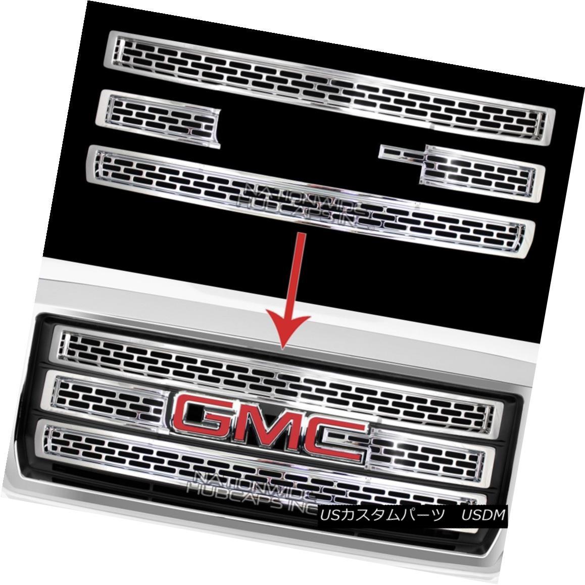 グリル 2014-15 GMC Sierra 1500 CHROME Snap On Grille Overlay 3 Bar Grill Covers Inserts 2014-15 GMC Sierra 1500 CHROMEスナップオングリルオーバーレイ3バーグリルカバーインサート