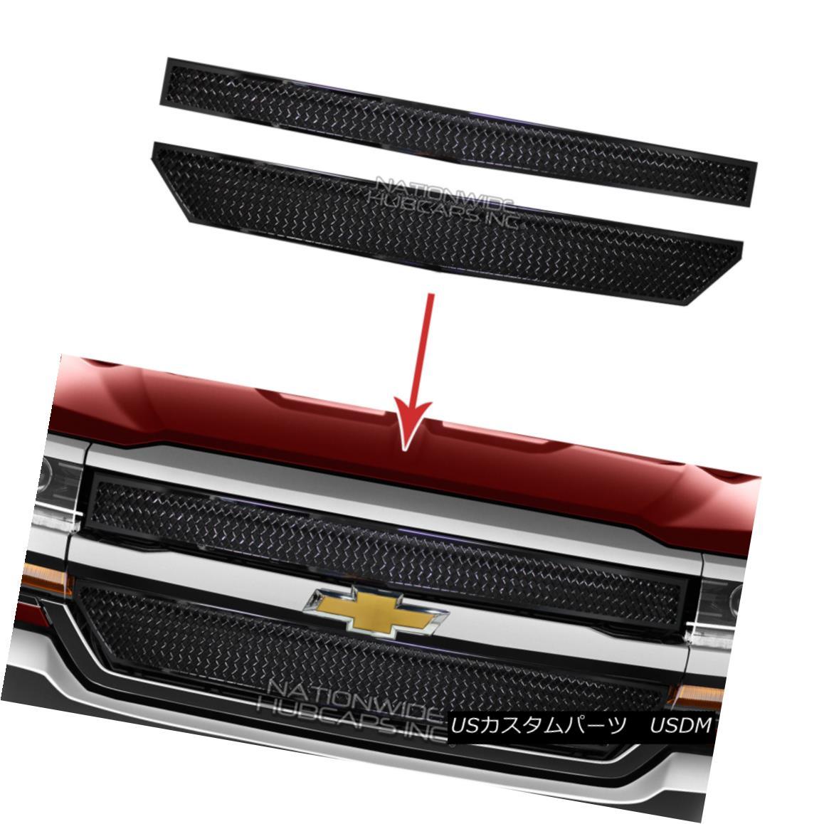 グリル 2016-18 Chevy Silverado 1500 Black Web Grille Overlay Front Grill Covers Inserts 2016-18 Chevy Silverado 1500ブラックウェブグリルオーバーレイフロントグリルカバーインサート